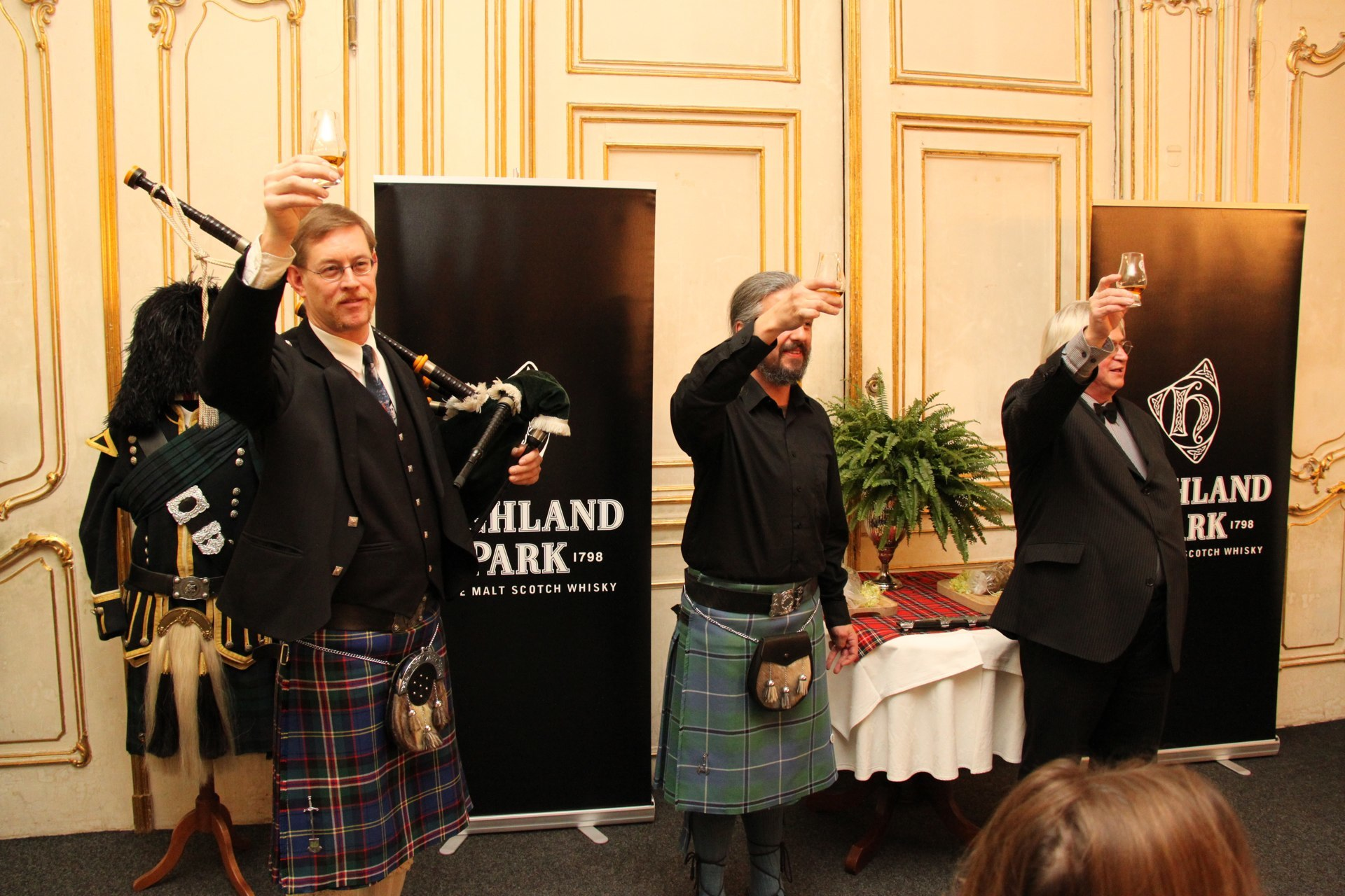 Chip, Alastair and Jiri toast the haggis!