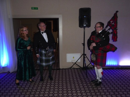 Piping in the guests. From left organisers Jana and Gordon, piper Miroslav Anger