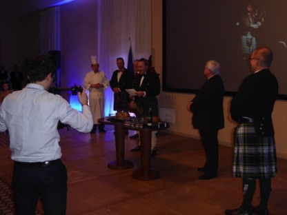 Callum delivers the Address of a Haggis in Scots